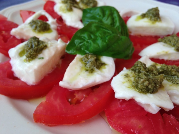 Caprese salad - the tomatoes and basil are from the garden, as is the basil in the pesto.