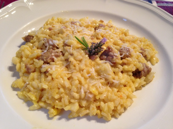 Sausage risotto with rosemary, lavender and saffron.